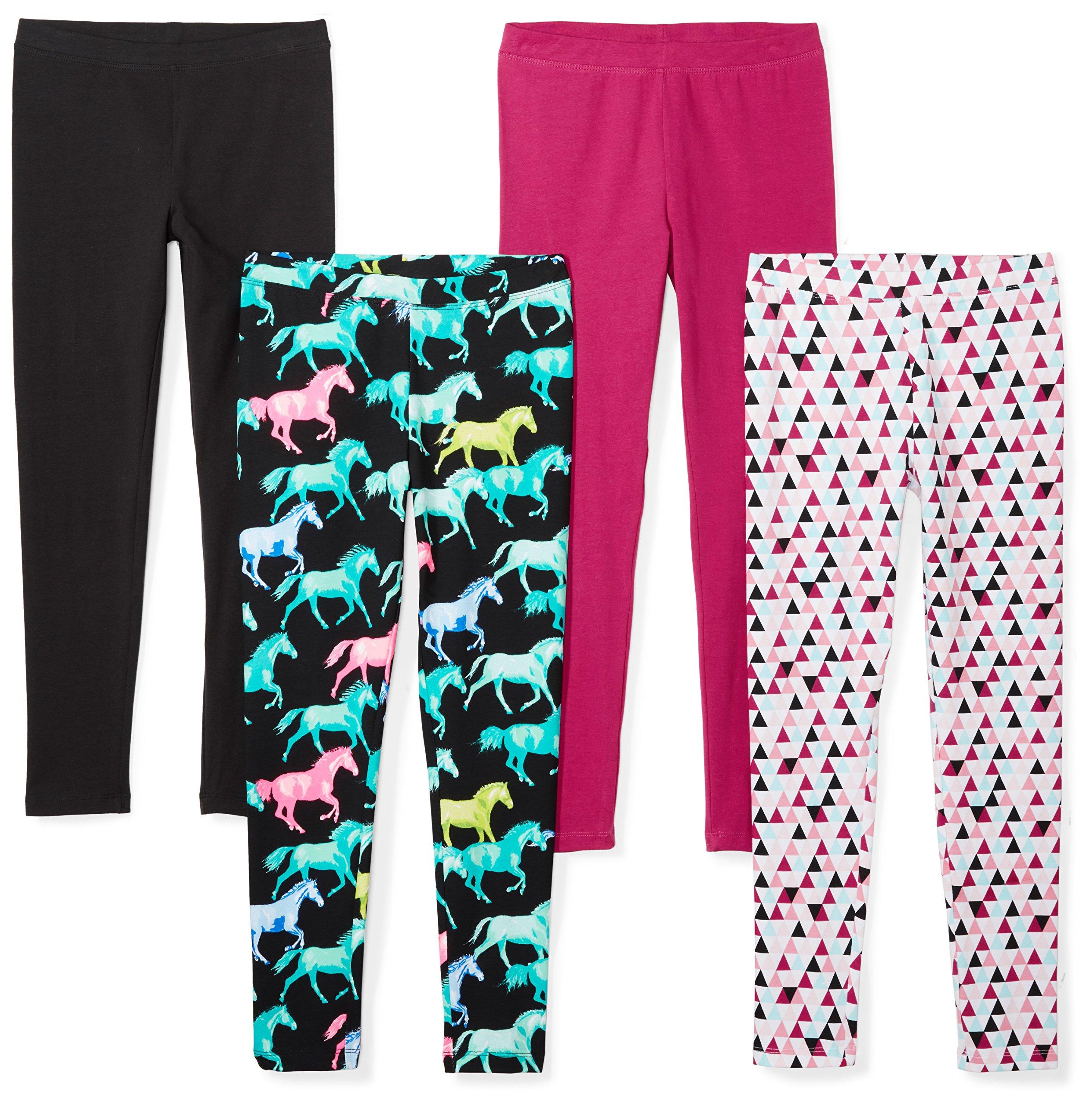 Spotted Zebra Girls' Little 4-Pack Leggings, Horses, Small (6-7)