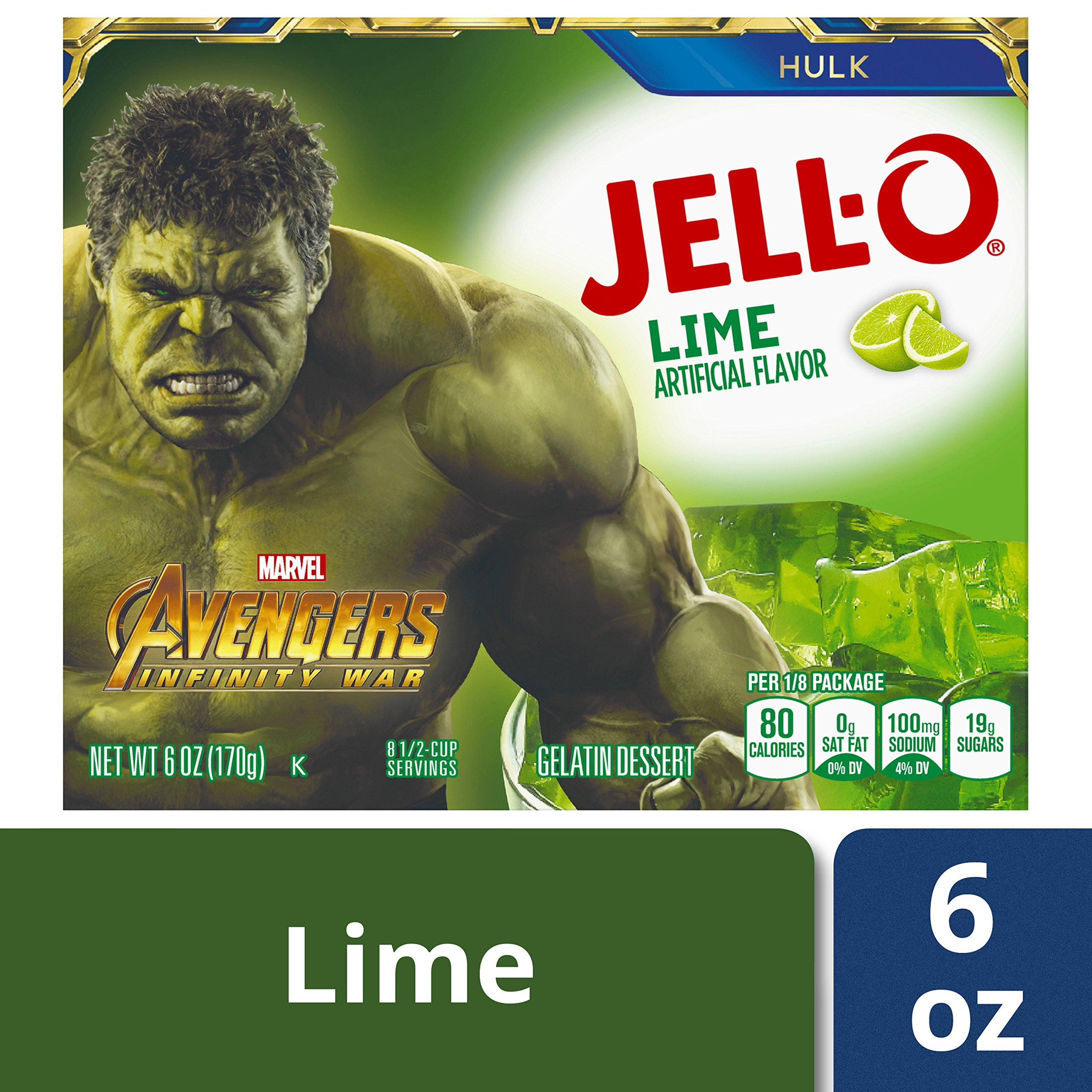 Jell-O Lime Gelatin Dessert Mix, 6 oz Box