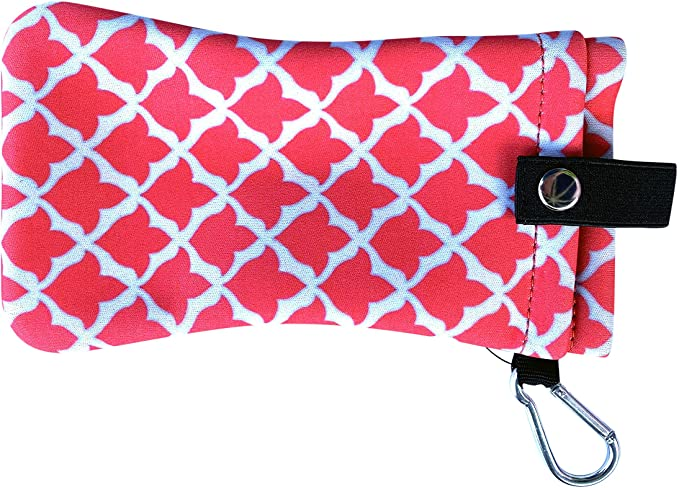 Double Eyeglass Sunglasses Slip Case Pouch with Clip | Soft Case Holder by buti-Bag (Coral Tulip)