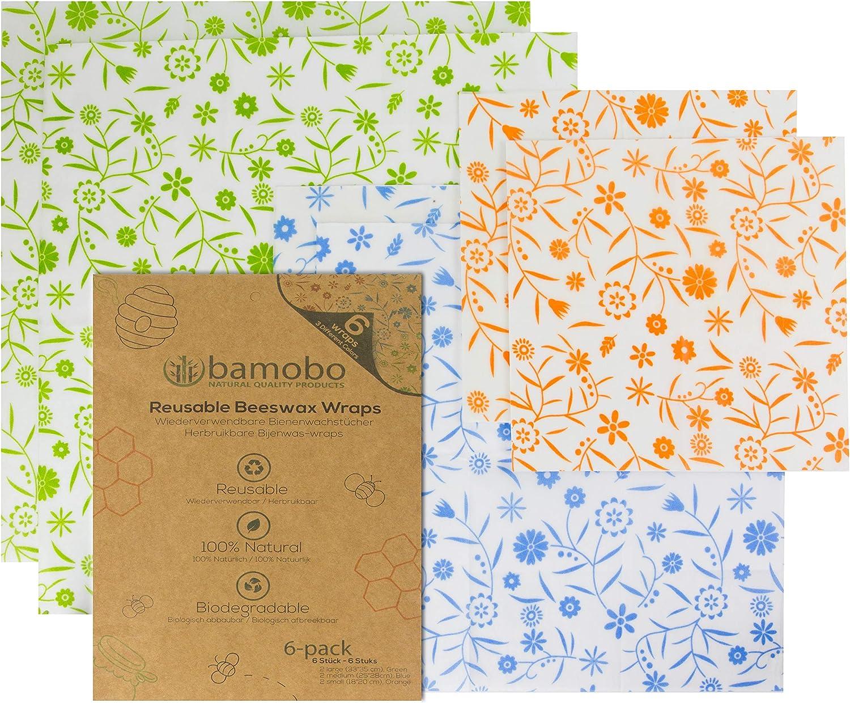 Bamobo [6X] Bio Bienenwachstücher para alimentos - Bio Bees Wrap Wachspapier - Beeswax Wrap - Frischhaltefolie Reutilizables - sostenibles Plastikfreie productos: Amazon.es: Hogar
