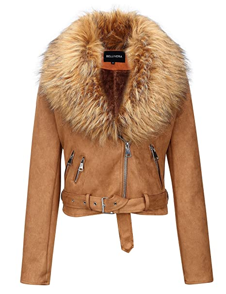 Vintage Coats & Jackets | Retro Coats and Jackets Bellivera Womens Faux Fur Collar Suede Leather Short Jacket $65.99 AT vintagedancer.com