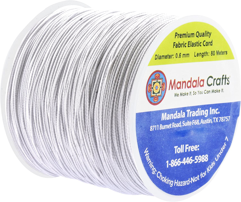Beading Off-White, 2mm 76 Yards Necklaces Mandala Crafts Elastic Cord Stretchy String for Bracelets Jewelry Making Masks