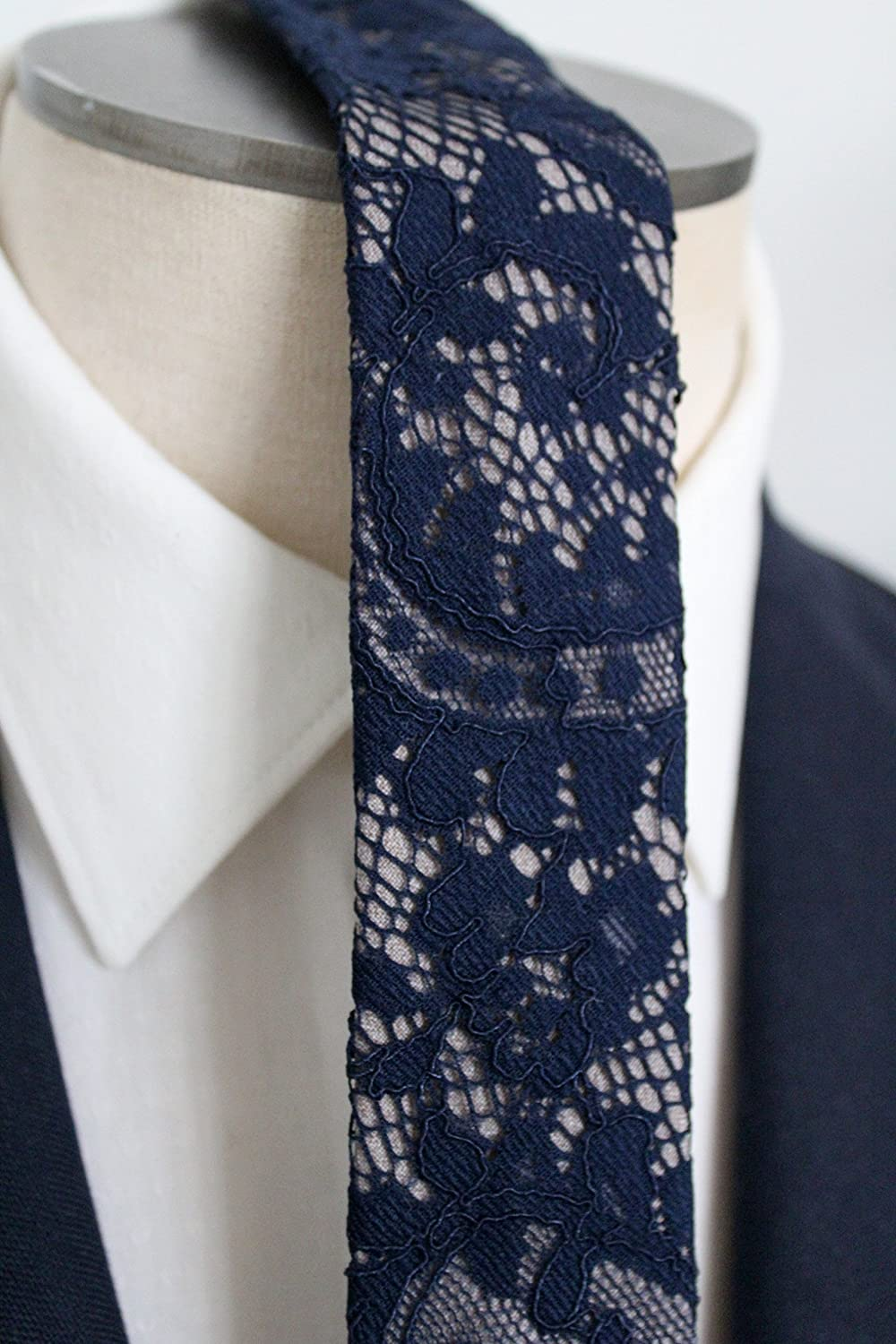 Navy and grey Lace Neck Tie by Handsome&Lace