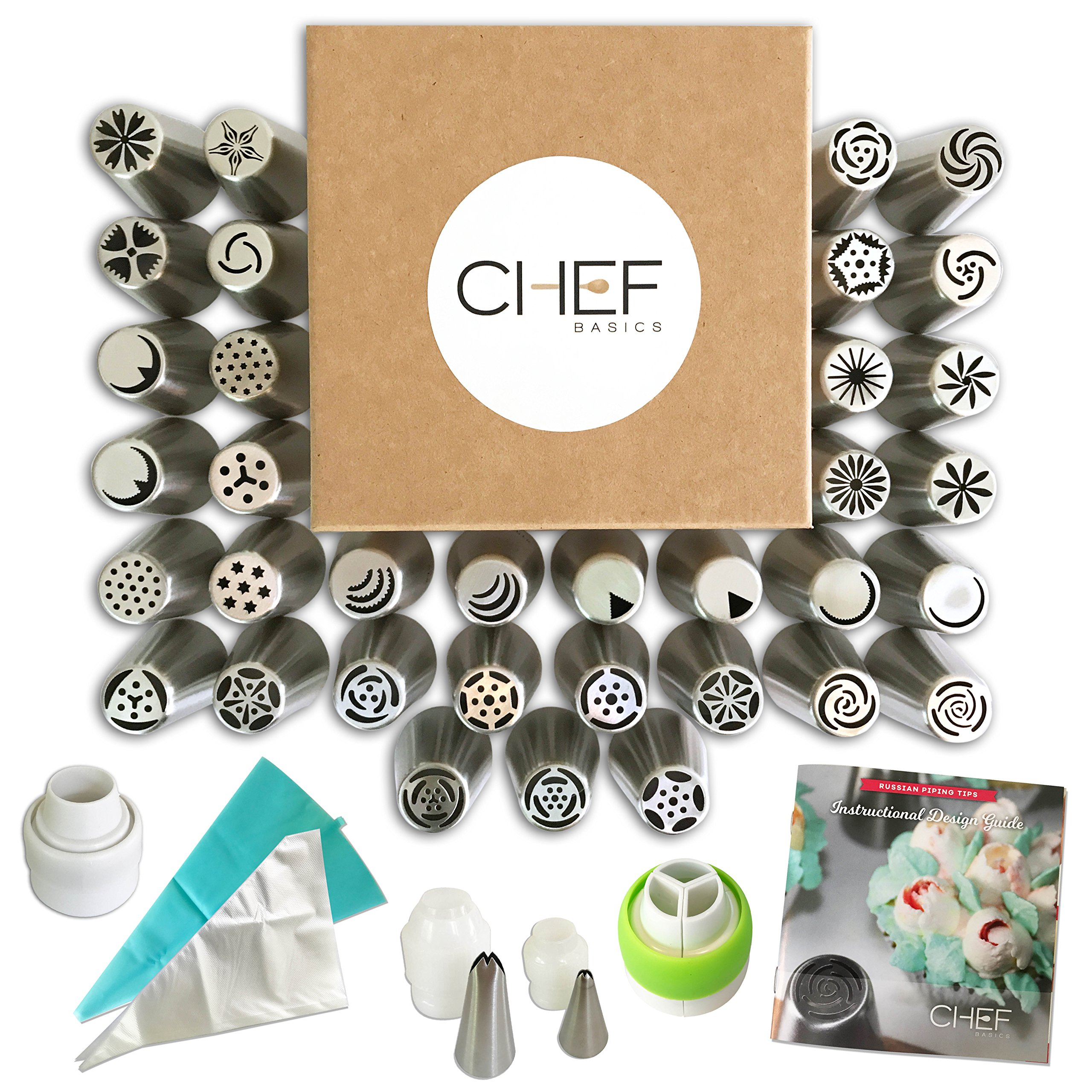 Chef Basics' 63 Piece Complete Russian Piping Tip Set w/35 Tips, 20 Large Disposable Bags, 1 Large Reusable Bag, 1 Tri and 1 Single-Coupler, TWO Leaf Tips (1 Large, 1 Small), PRINTED design guide