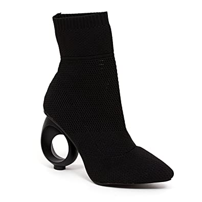 Women's Beyonce Stretch Knitted Pull On Ankle Heel Bootie