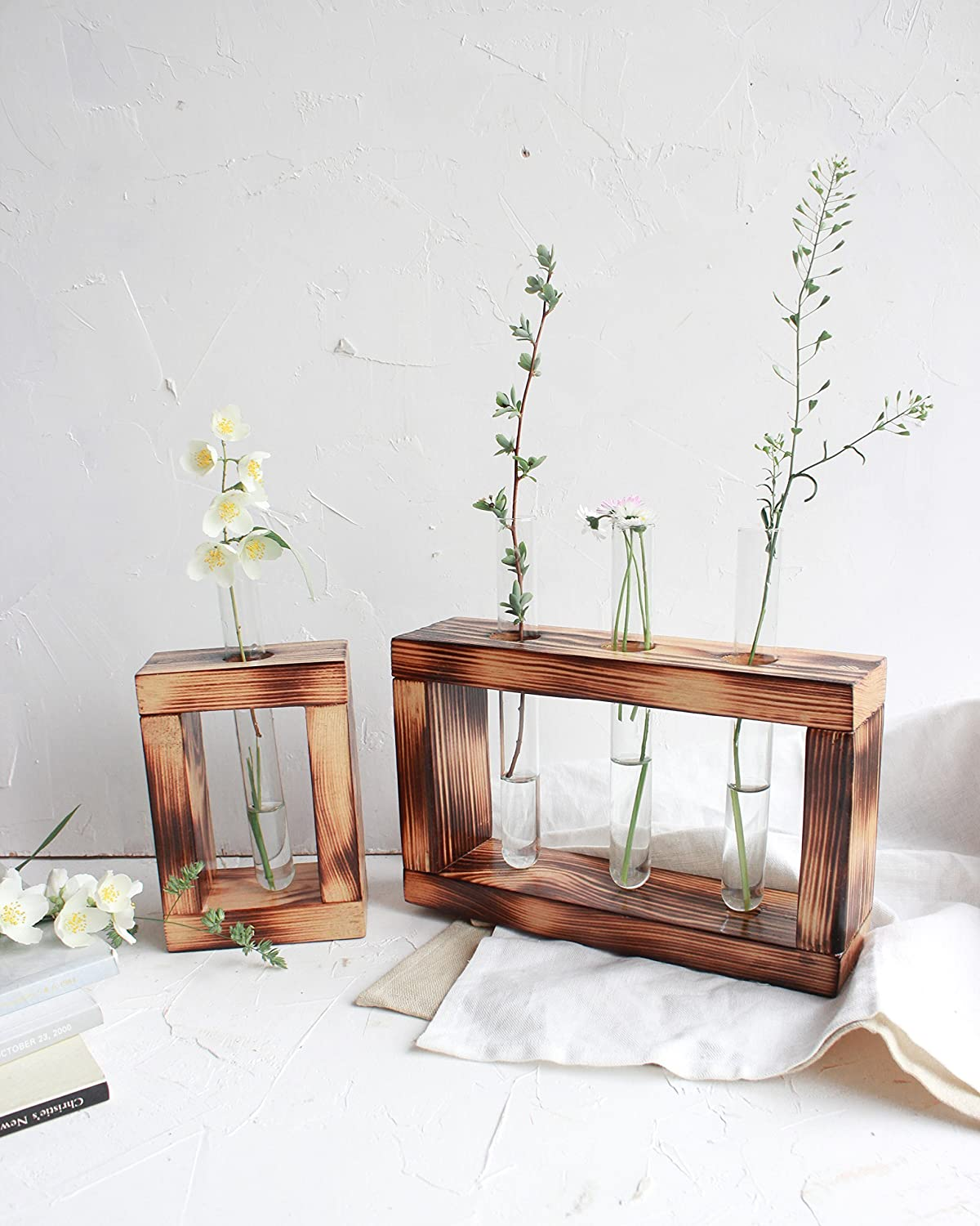 Set of 2 Test Tube Stand Hanging Flower Bud Vase Display Minimalist Tube Rack Centerpiece Decorative Rustic Wood Plant Holder Home Decor Housewarming Grandma Mothers Day Gift
