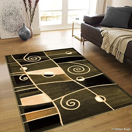 Allstar 8×10 Sage Green and Mocha Abstract Machine Carved Rectangular Accent Rug with Ivory Swirl Design 7 9 x 10 2