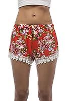 Floral Print Crochet Hem Shorts