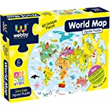 Webby Amazing World Map Jigsaw Floor Puzzle 60 Pcs with 4 Double Sided Flashcards
