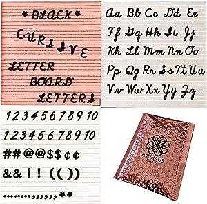 Black Cursive Letter Board Letters for Changeable Felt Letter Boards | 348 Customizable Pre-Cut Cursive Words + Numbers + Symbols by Bauhaus Decor