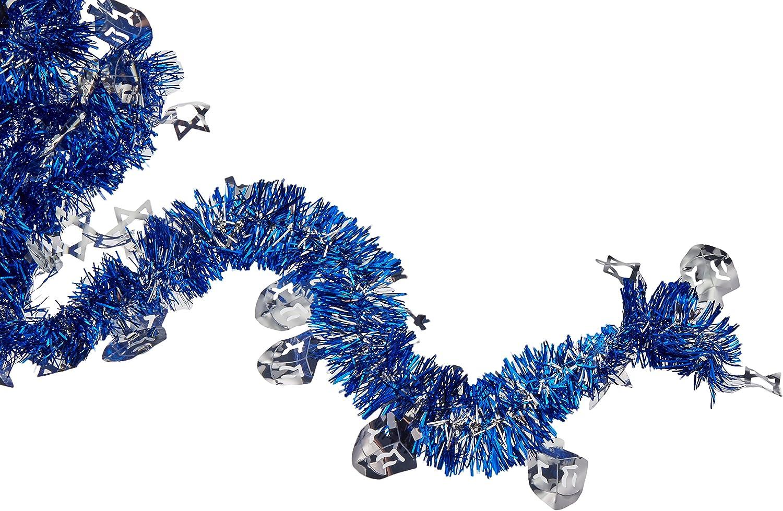 amscan Hanukkah Blue Tinsel Foil Garland | Party Decoration, Blue/Silver, 15' (229157)