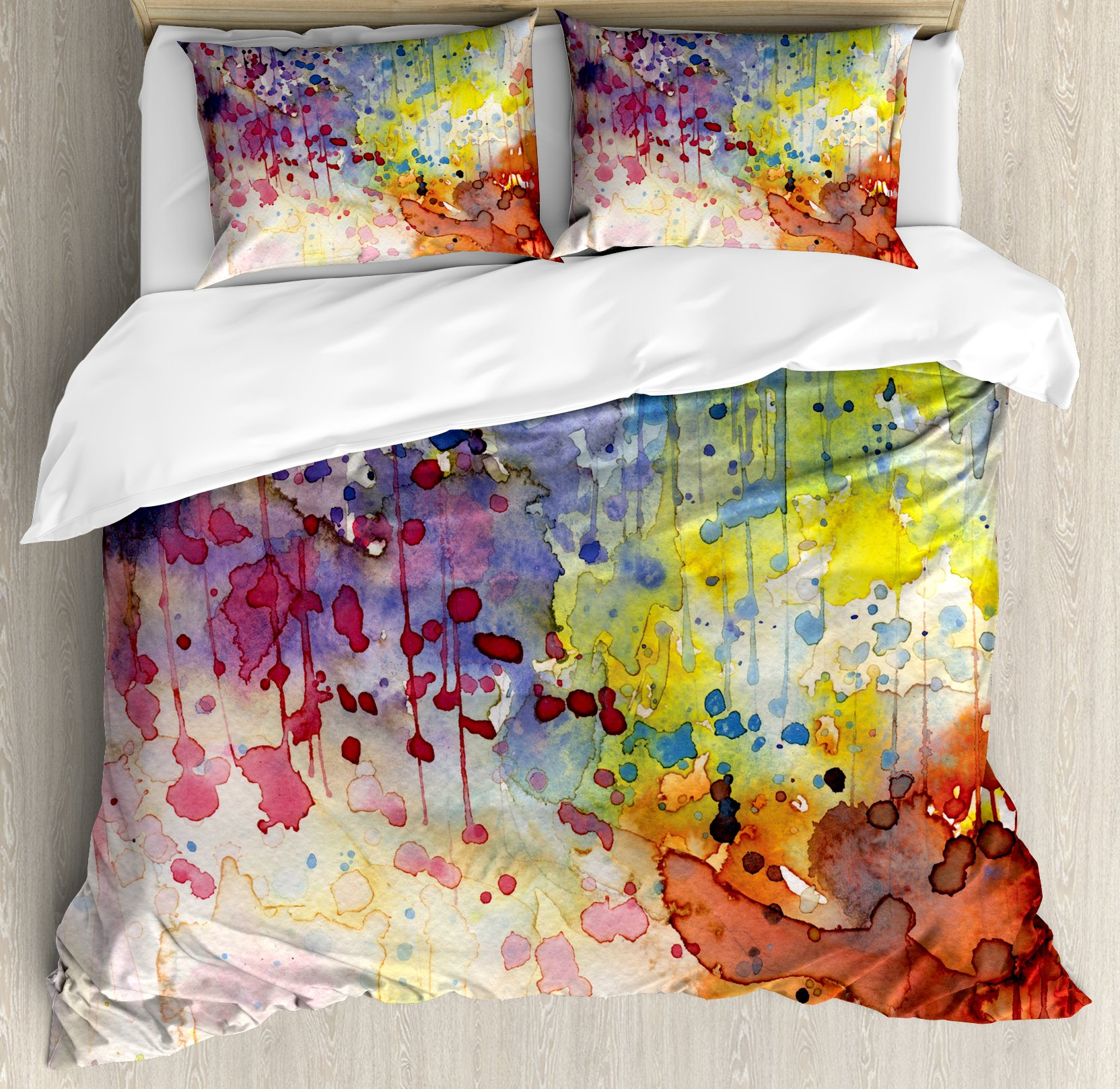 Abstract Duvet Cover Set King Size by Ambesonne, Grunge Style Dirty Look with Colorful Watercolor Spots Liquid Splashes Artistic, Decorative 3 Piece Bedding Set with 2 Pillow Shams, Multicolor