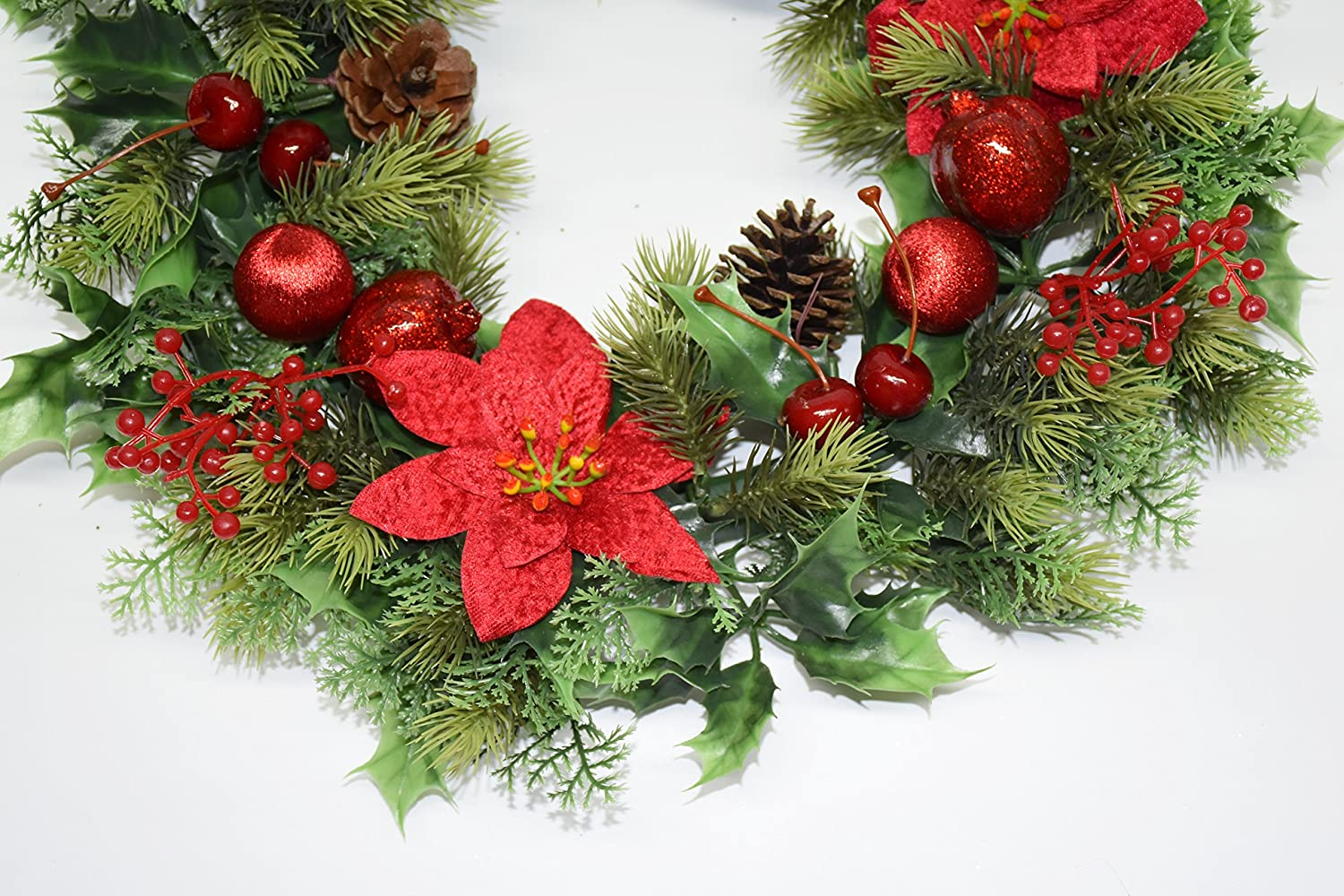 Plastic Holly Wreath large with velvet poisettias and baubles red -  Christmas decorations  Amazon.co.uk  Kitchen   Home 5817ea440