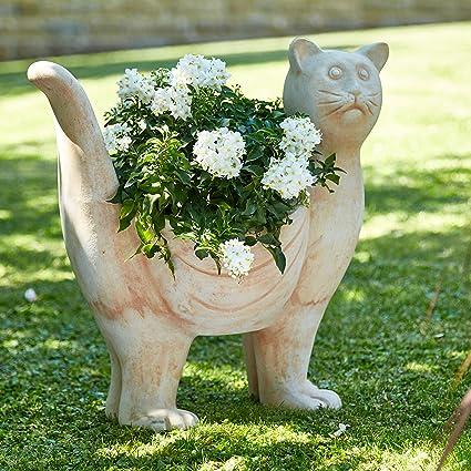 Terrakotta Gartenfigur Katze Zum Bepflanzen Dekofigur Für Außen