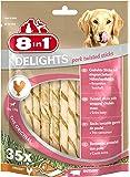 8in1 Delights Pork (gesunder Kausnack für Hunde mit hochwertigem Hähnchenfleisch eingewickelt in Schweinehaut, herzhafte und geruchsarme Alternative zum Schweineohr), verschiedene Größen