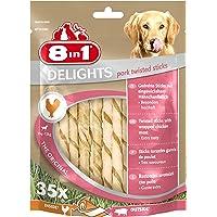 8in1 Delights Pork Twisted Sticks – zdrowe pałeczki do żucia dla psów, bezzapachowa alternatywa dla uszu świni, 35 sztuk