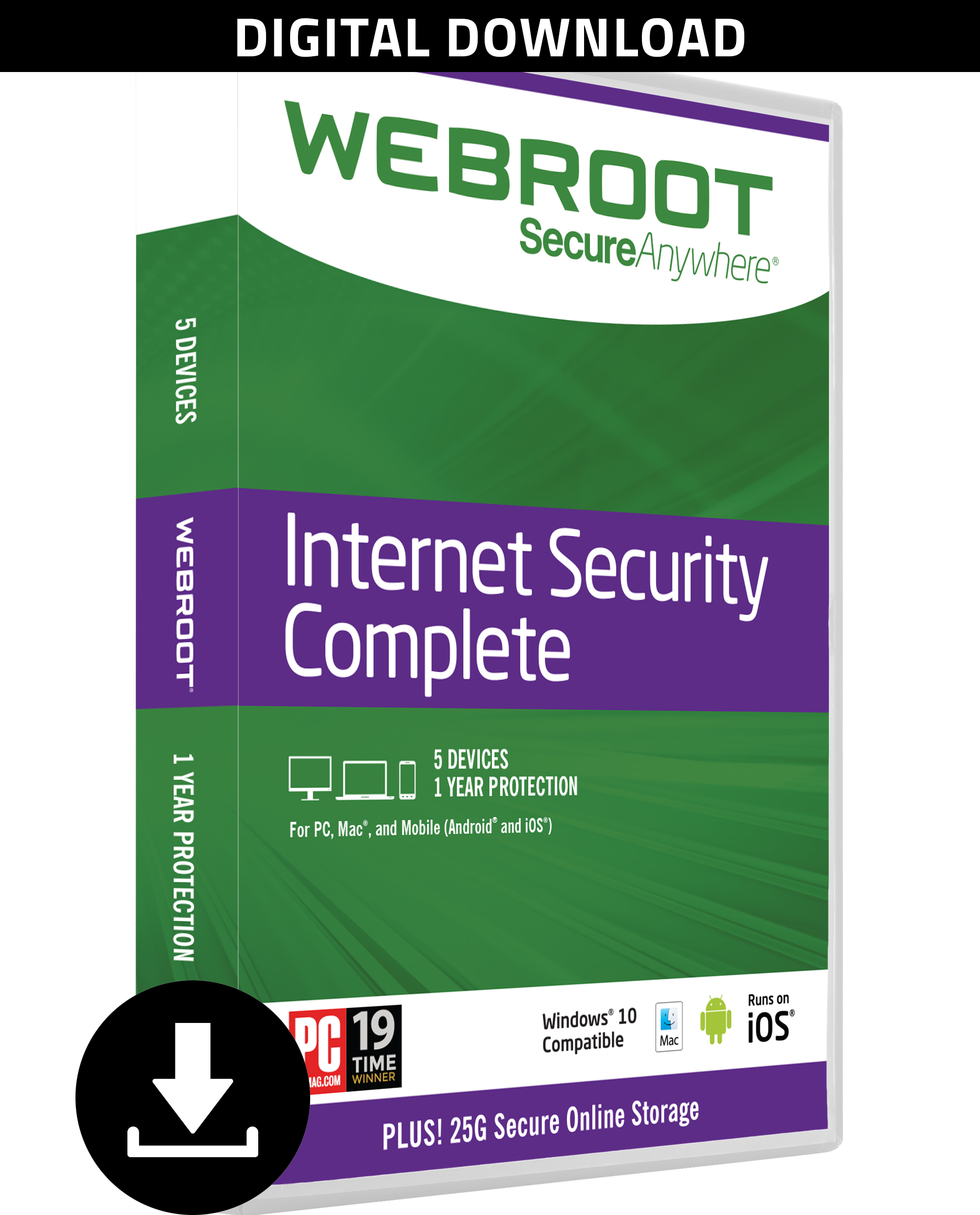 Webroot Antivirus Protection Internet Security Complete 2018 | 5 Device | 1 Year Subscription | PC Download