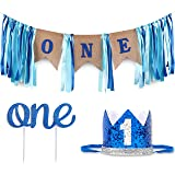 Baby 1st Birthday Boy Decorations with Crown - Baby Boy First Birthday Decorations High Chair Banner - Cake Smash Party Suppl