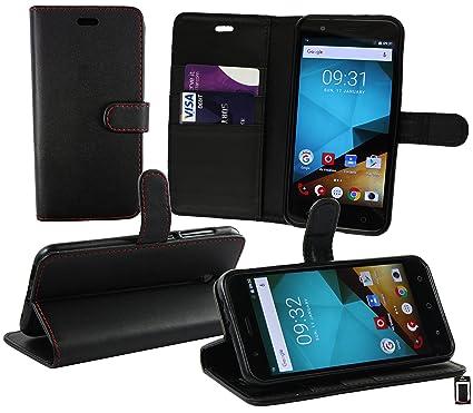 Emartbuy® Vodafone Smart Prime 7 PU Cuero Funda Carcasa Wallet Case Cover con Tarjeta de Crédito Slots - Negro (Rojo Puntadas)