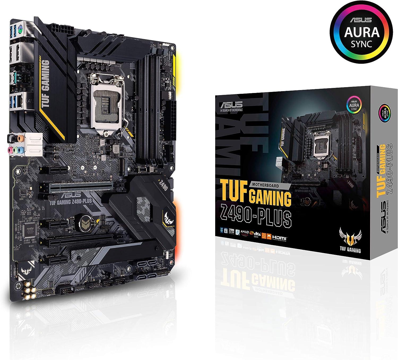 Intel/® Z490 Intel/® 1Gb LAN M.2 Thunderbolt/™ 3 Aura Sync DDR4 RGB ATX motherboard LGA 1200 DisplayPort USB 3.2 Gen 2 Type-A//Type-C 14 DrMOS HDMI ASUS TUF Gaming Z490-Plus