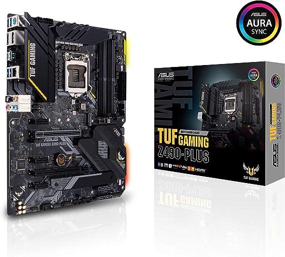 ASUS TUF Gaming Z490-PLUS - Placa Base Gaming ATX Intel de 10a Gen LGA 1200 con VRM de 12+2 Fases Dr Mos, HDMI & DP, USB 3.2 Gen2, Dual M.2 y Cabezales
