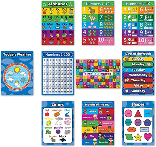 Encapsulated A3 Kids Educational Poster Lets Learn About Shapes
