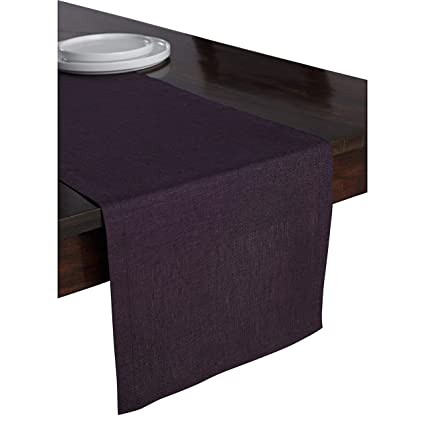 417c7366dc62a Solino Home 100% Pure Linen Table Runner – 14 x 72 Inch Athena, Handcrafted  from European Flax, Natural Fabric Runner – Purple