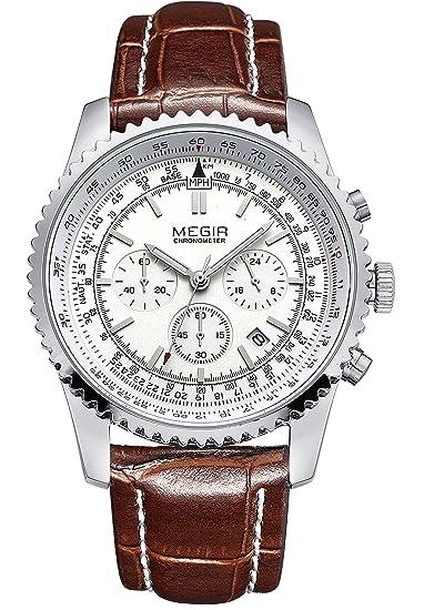 Megir - Reloj de deporte cronógrafo Big Face Calendr reloj de cuarzo con correa de piel: Amazon.es: Relojes