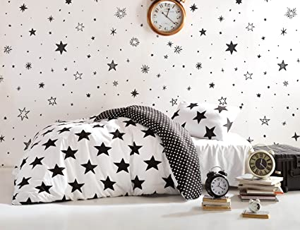 DecoMood Stars Bedding Set, Single/Twin Size Quilt/Duvet Cover Set, Black  and White Girls Boys Bed Set, Reversible, Comforter Included (4 Pcs)