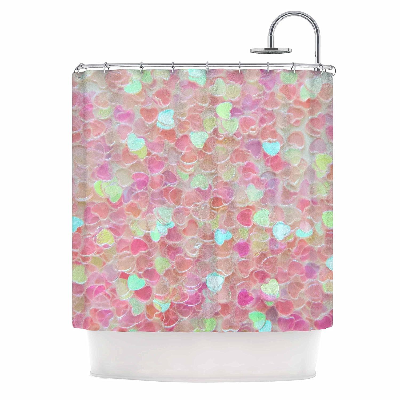 69 x 70 Shower Curtain Kess InHouse Debbra Obertanec Hearts Galore Pink Love