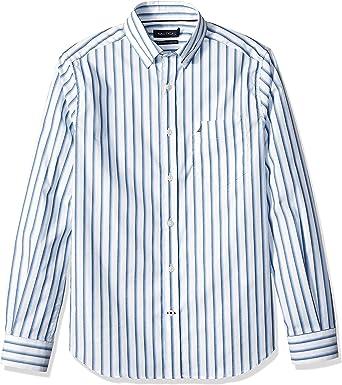 Nautica - Camisa para Hombre Resistente a Las Arrugas con Botones y Rayas elásticas: Amazon.es: Ropa y accesorios