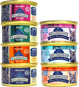 Blue Buffalo Wilderness Grain-Free Cat Food Variety Pack Box - 7 Flavors (4 Classic Flavors & 3 Wild Delights Flavors) - 21 (3 Ounce) Cans - 3 of Each Flavor