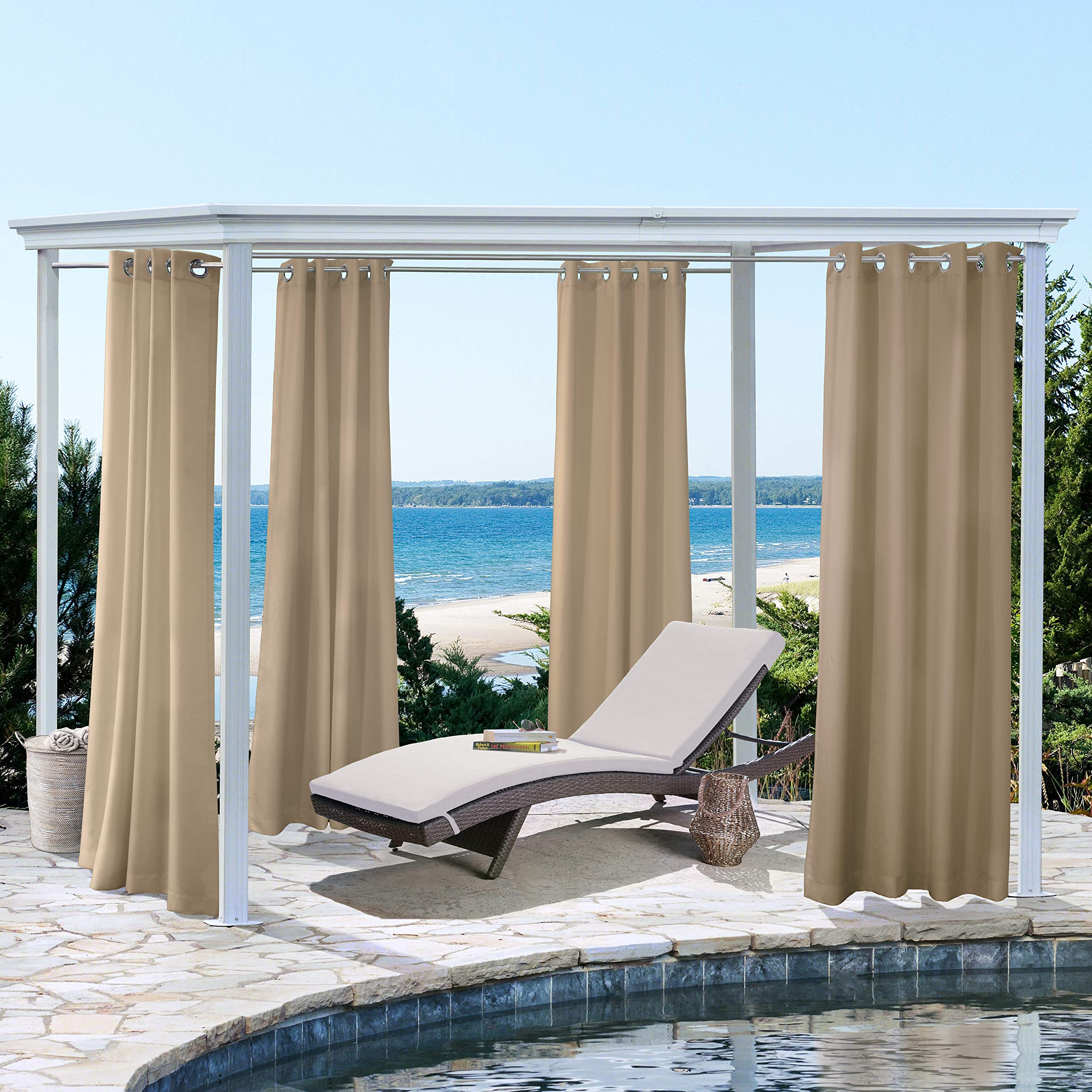 Outdoor Decor Seascapes Outdoor Curtain Pair with Grommets (100'' Wide by 96'' Long, Khaki)