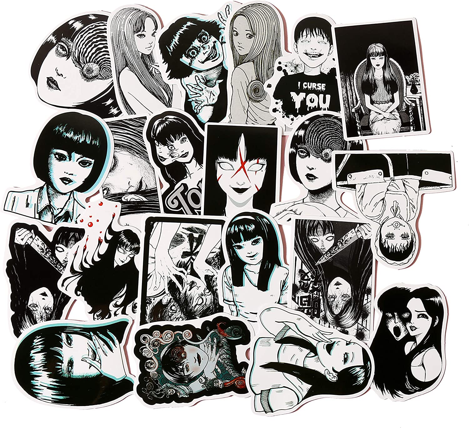 21 Pcs/Pack Japanese Comic Black and White Thriller Horror Movie Style Tomie Stickers Pack for Laptop Luggage Water Bottle Skateboard