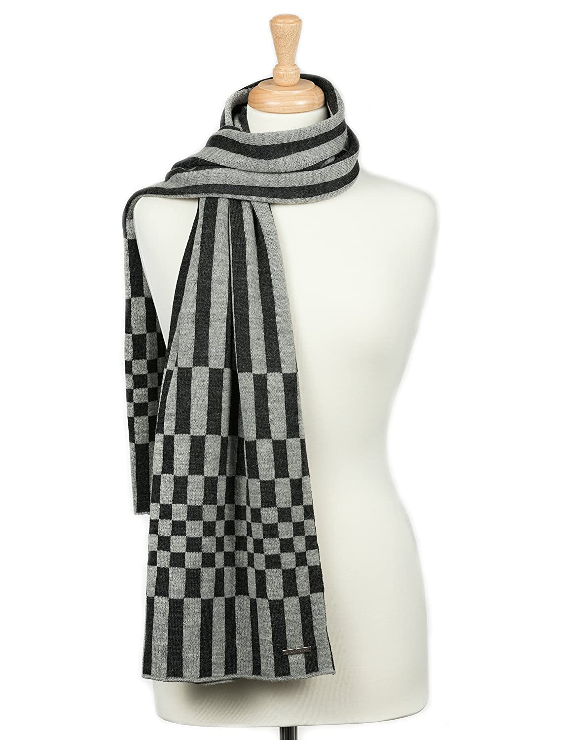 FIRENZE Handmade Knitted 100% Baby Alpaca Wrap Scarf for Women (Charcoal/Silver)