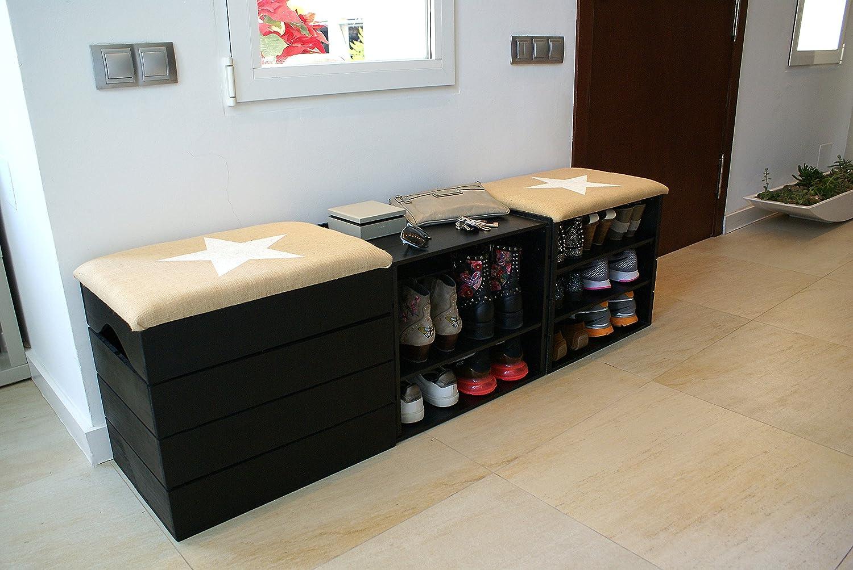 Pouf /Étoile Blanche Caisse Vintage avec Assise Confortable en Tissu Bois Massif Scandinave Noir Malle /à Jouets Liza Line Meuble Coffre Banc de Rangement 50 x 45 x 36 cm pour Chaussures