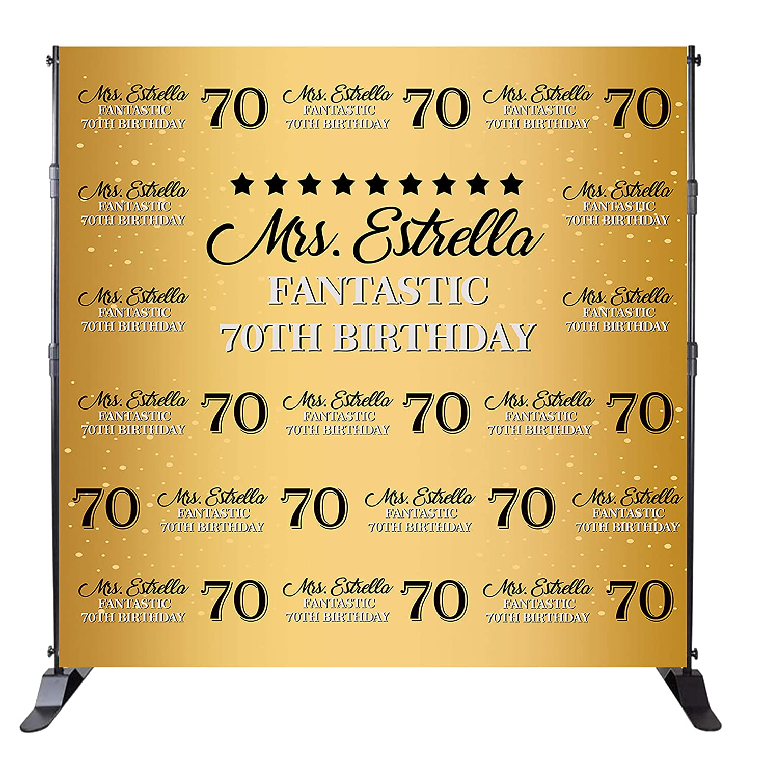 Mehofoto 70th Birthday Backdrop Gold Step And Repeat Background 70 Years Old Party Banner Decoration Adult Man Woman Customized Photo Studio Props Name
