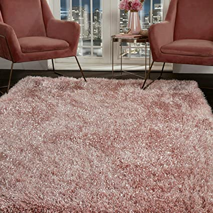 VICEROY BEDDING SHAGGY RUG Super Plush Extra Large Rugs Living Room with  SHIMMERING SPARKLE GLITTER STRANDS Fluffy 55mm Thick Pile Height Modern  Area