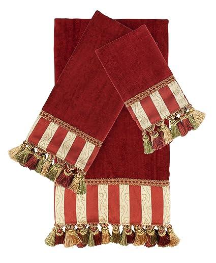 Austin cuerno clásicos pantalla plana Rouge rojo 3 piezas lujo adornado decorativo juego de toallas