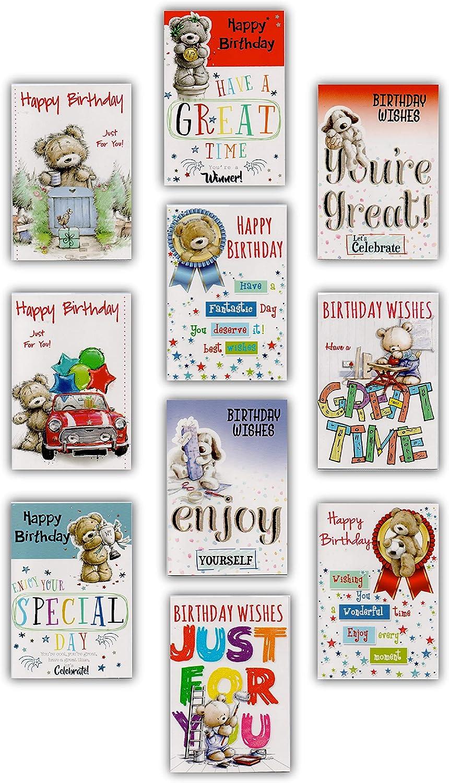 Pack de 8/diferentes tarjetas de cumplea/ños/ /Macho dise/ño de oso Embalado individualmente con sobres. etc