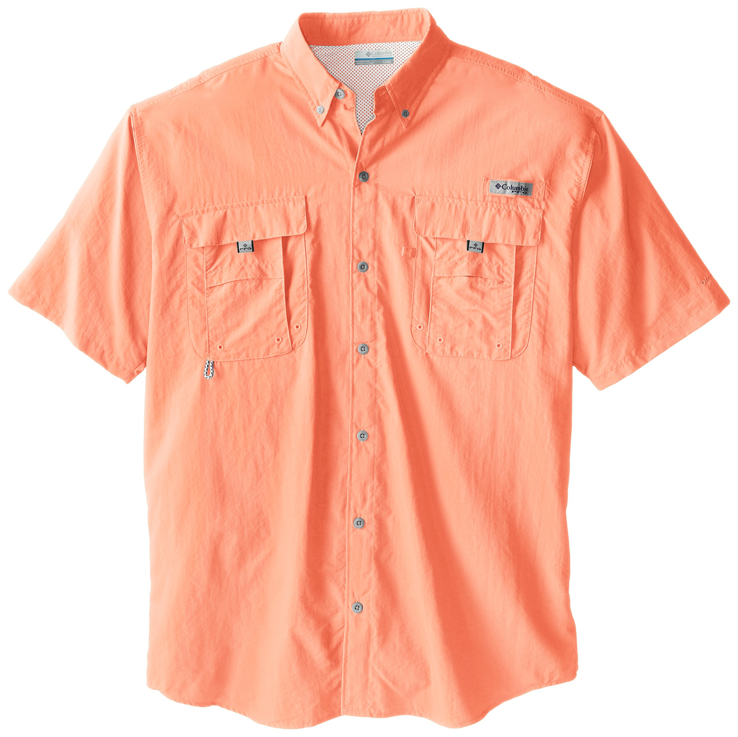 Columbia Men's Bahama II Short Sleeve Shirt, Bright Peach, 2X Tall