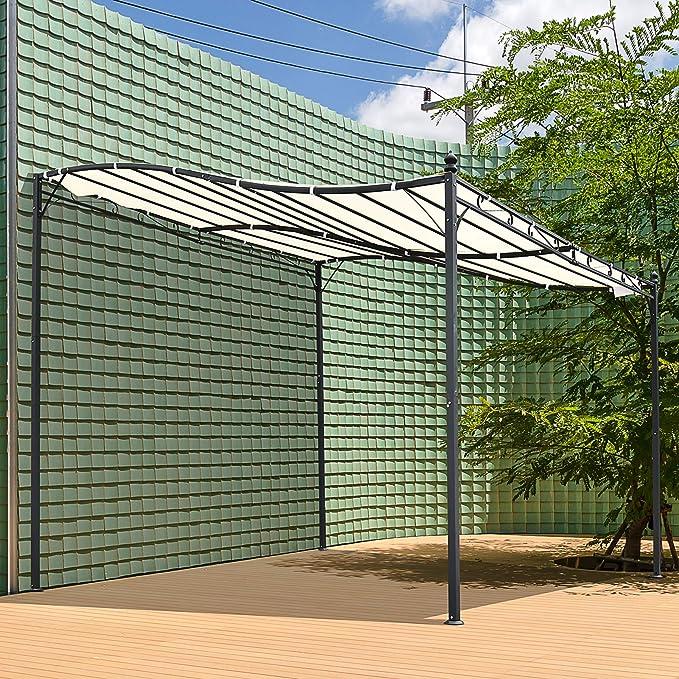 Outsunny Pérgola Gazebo Tipo Toldo de Pared Curvo para Jardín Patio o Terraza Pabellón Cenador con Marco de Acero y Tela de Poliéster Color Crema 3x3x2.5m: Amazon.es: Jardín
