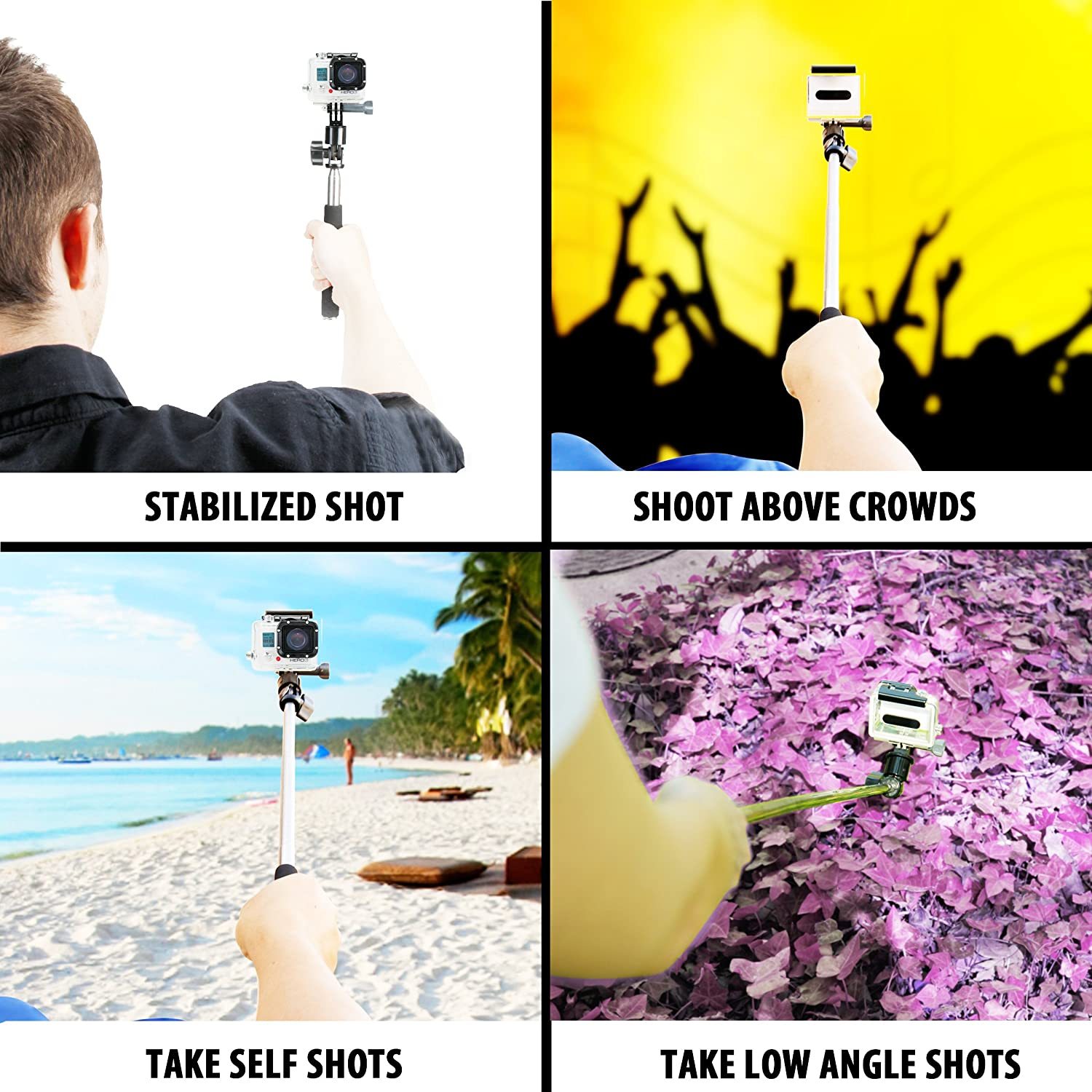Amazon.com : USA Gear Action Cam Telescopic Monopod Selfie Stick with Metal Extension Pole Works with Garmin VIRB Ultra 30, Vivitar Action Cameras & More : ...