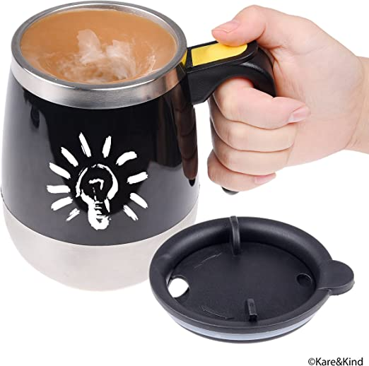 to stir Your Coffee Auto Stirring Coffee Mug with Lid and Handle Juice Drink and Hot Chocolate Great for Travelling Black Milk Mix Self Stirring Coffee Mug