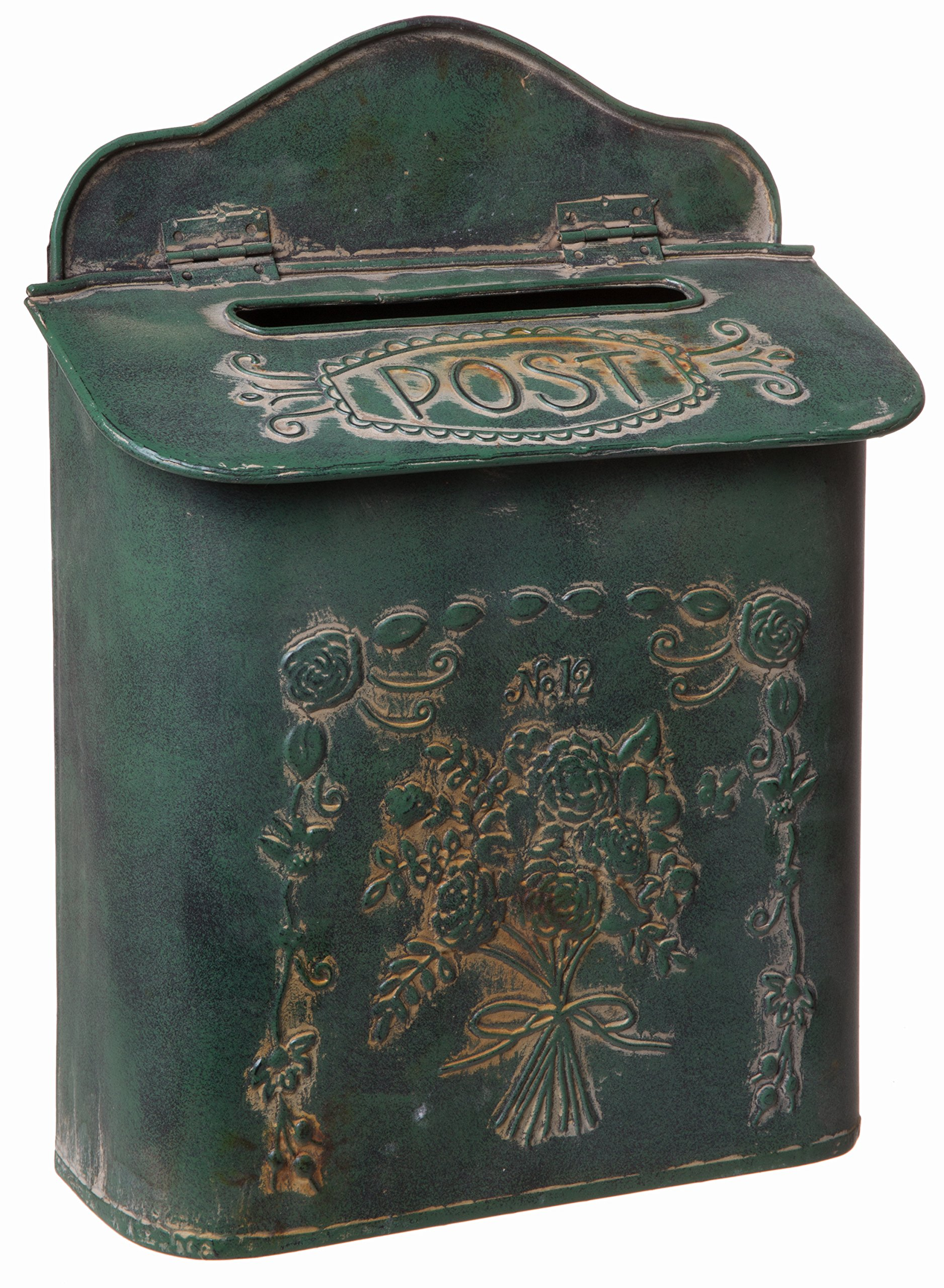 Farmhouse Rustic Style Green Tin Post MailBox Wall Mounted Design - 14 h x 10 w Inches
