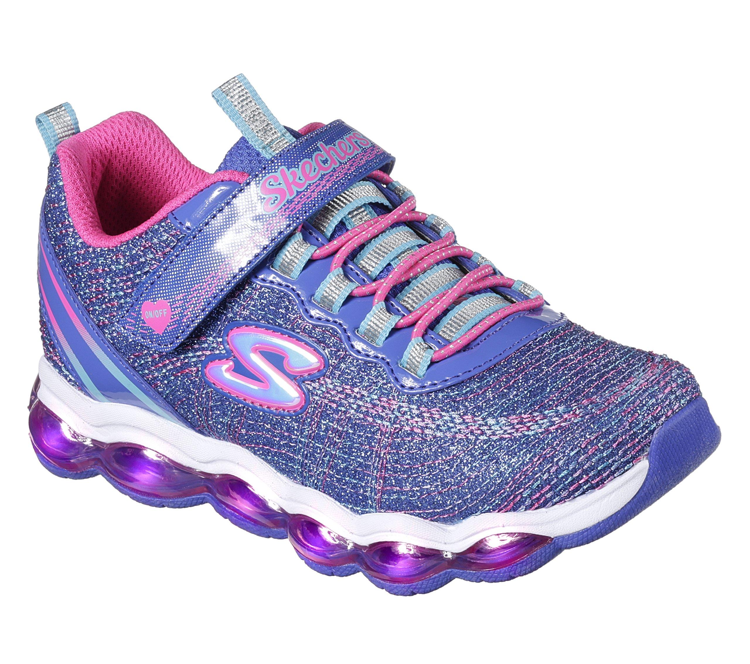 Skechers Kids Girls' Glimmer Lights Sneaker, Blue/Neon Pink, 1 M US Little Kid