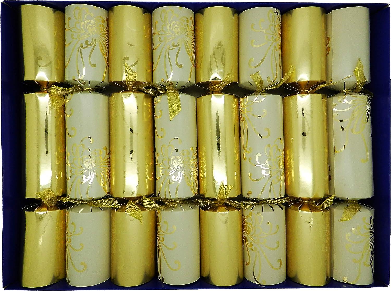 Crackers Ltd - Juego de 8 decoraciones de Navidad dorada con belén