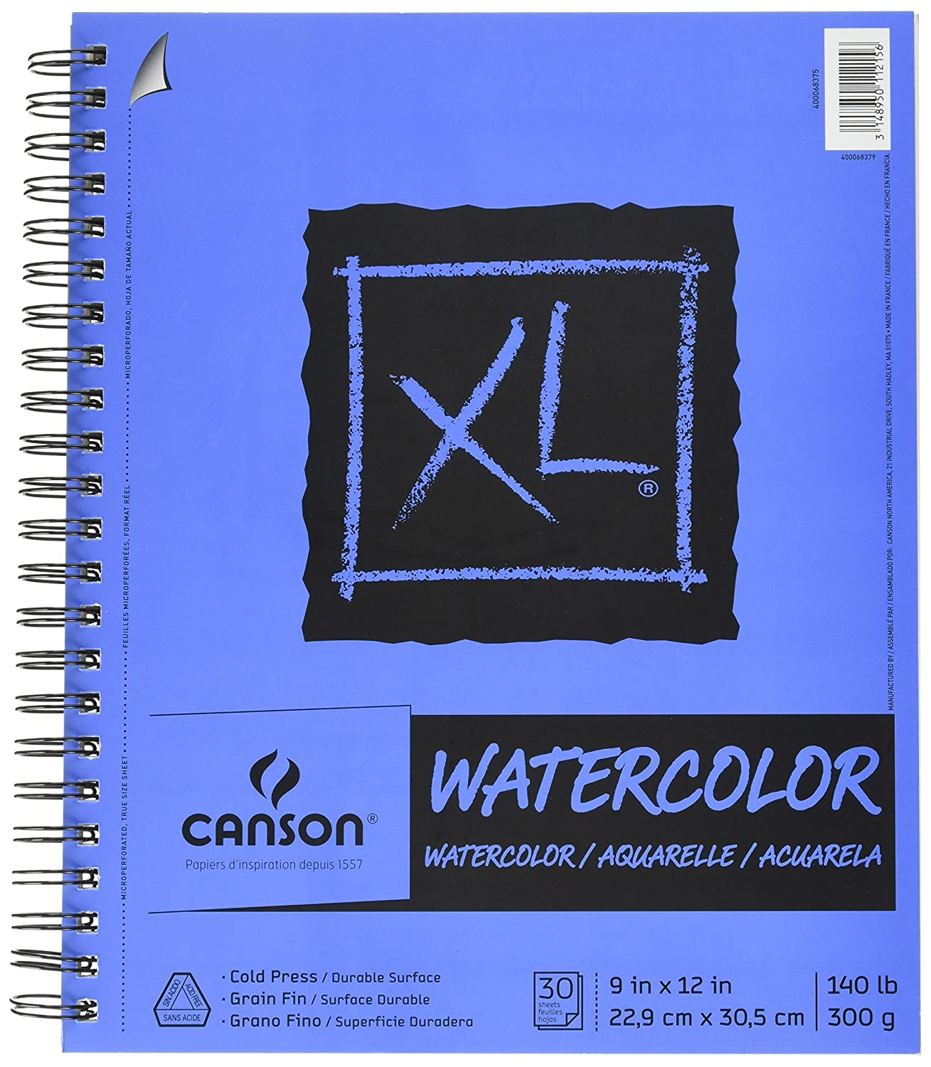 Canson XL Series Watercolor Textured Paper Pad for Paint, Pencil, Ink, Charcoal, Pastel, and Acrylic, Fold Over, 140 Pound, 18 x 24 Inch, 30 Sheets Canson Inc. 100510944