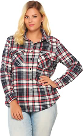 IN'VOLAND Plus Size Women Long Sleeve Plaid Flannel Checkered Shirt Tops