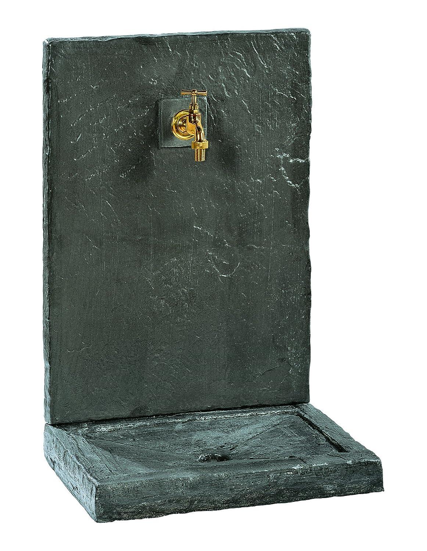 Wandbrunnen, 74cm, Kunststein, Schieferoptik, schwarz, 017230